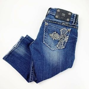 Miss Me Cropped Jeans With Jeweled Pockets